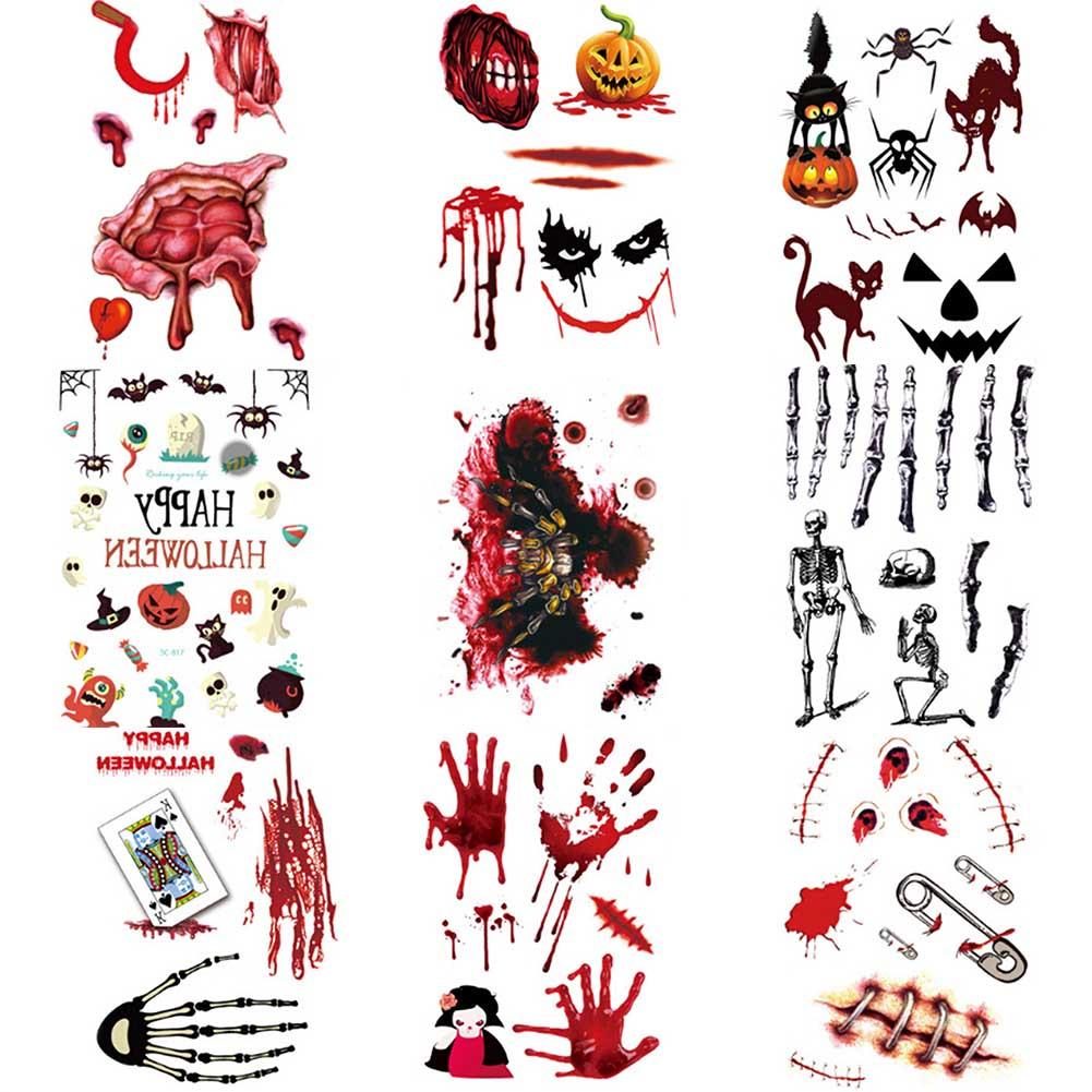 Halloween Style Tattoos: 1 Sheet Halloween Zombie Waterproof Horror Terror Wound