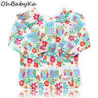 Ohbabyka Kids Feeding Bib Waterproof Toddler Baby Bib Long Sleeve Designer Print Toddler Burp Cloths Baberos
