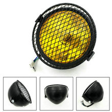 Moto depoca Faro Cafe Racer Testa Luce Luci Decorative Modificato Moto Head Light Con Griglia di Copertura
