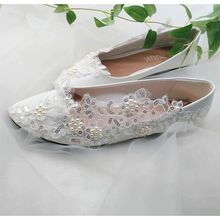 2018 new design silver sequins lace white wedding shoes woman flat heel  round toes pearls brides 5511c84e4b86