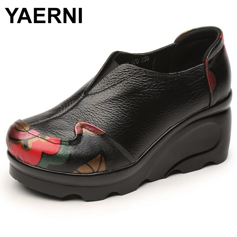 YAERNI 2018 New Genuine Leather Shoes Ladies Comfortable High Heeled Thick Bottom Casual Shoes Wedges E497