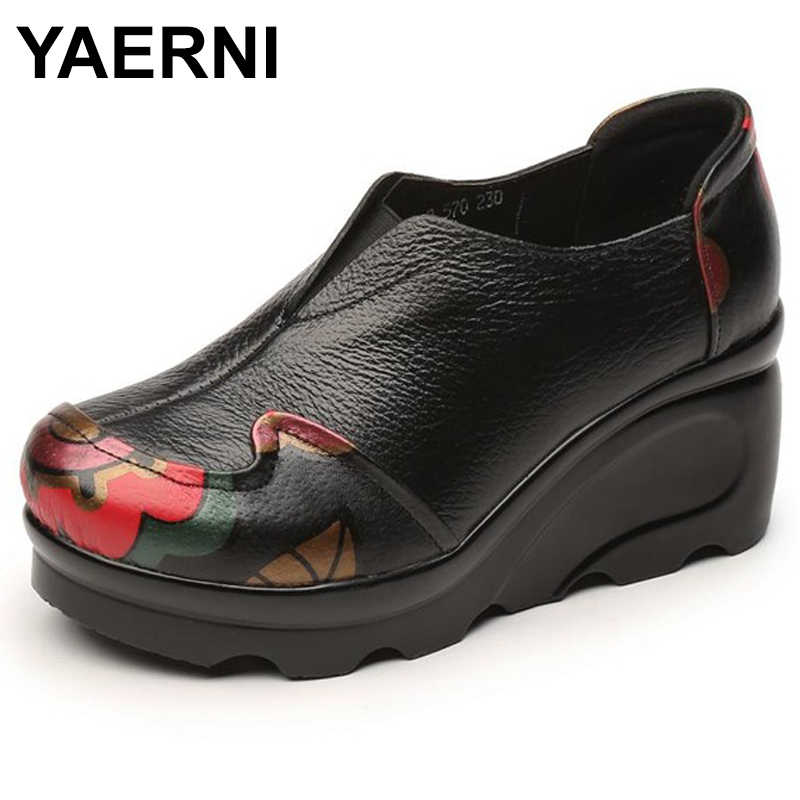 YAERNI 2018 New Genuine Leather Shoes Ladies' Comfortable High Heeled Thick Bottom Casual Shoes Wedges E497