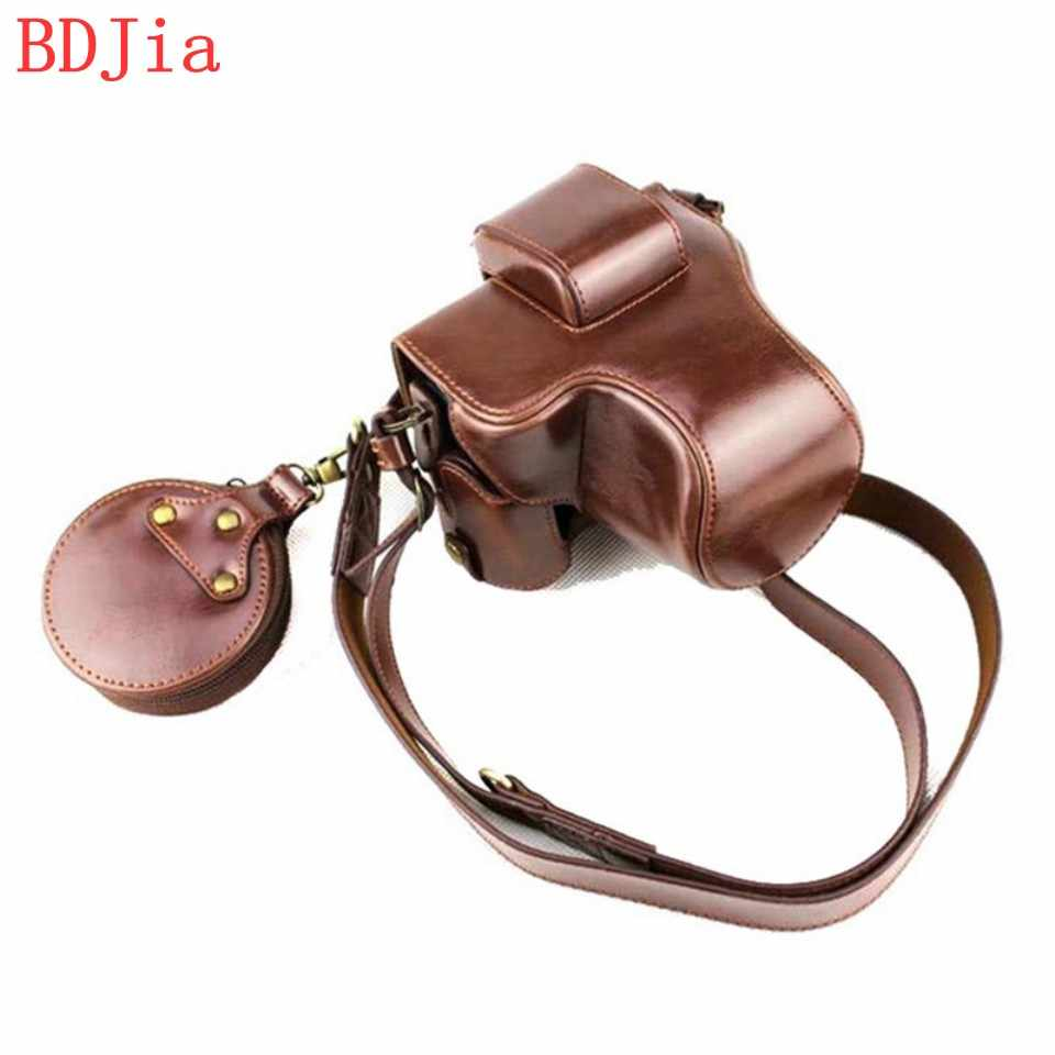 New Luxury Leather Camera Case For Canon EOS M50 EOS Kiss M (15-45 lens) Camera PU Leather Camera Bag With Battery Opening+strap
