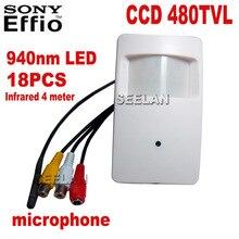 Night Vision CCD 480TVL Pir Motion Detector Camera with PIR CCTV Camera Sony 940nm 18PCS IR Leds infared surveillance camera