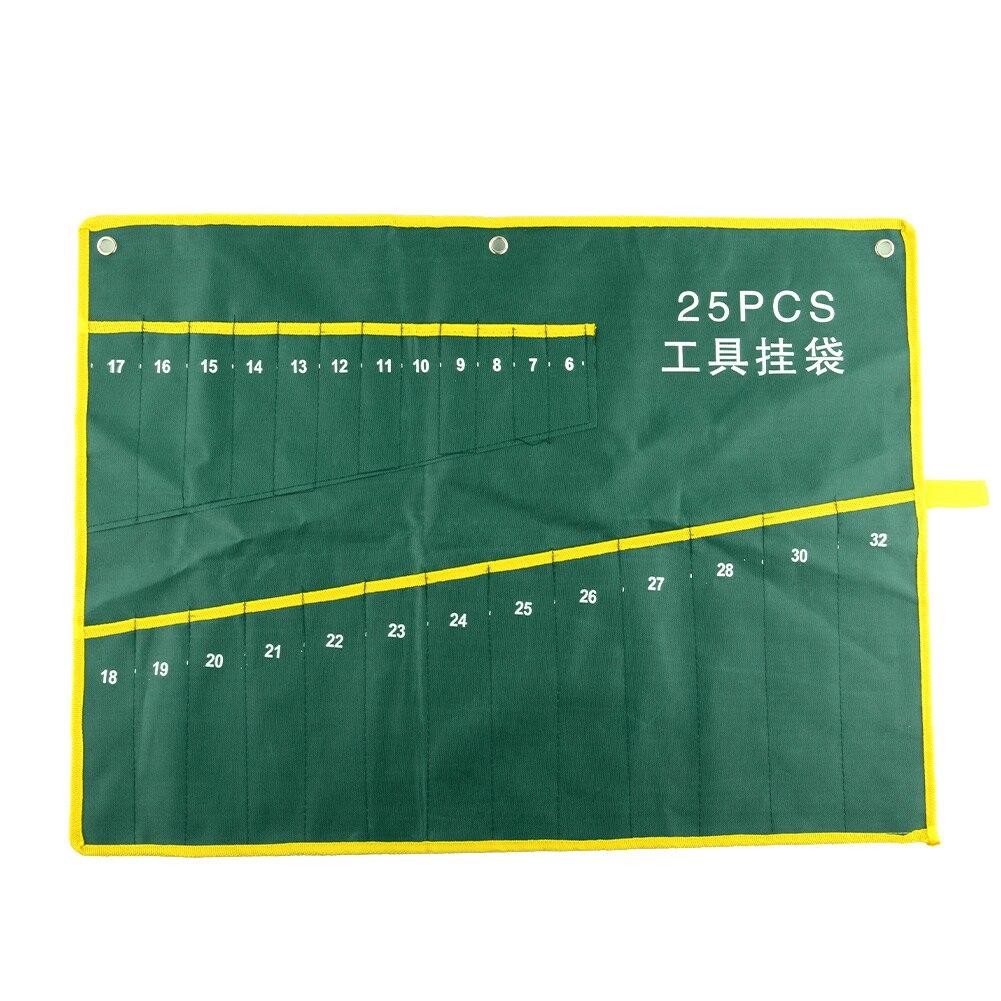 Home Durable 25 Pocket Grids Canvas Spanner Plier Wrench Tools Storage Bag Case Holder Rolling Hanging Suite
