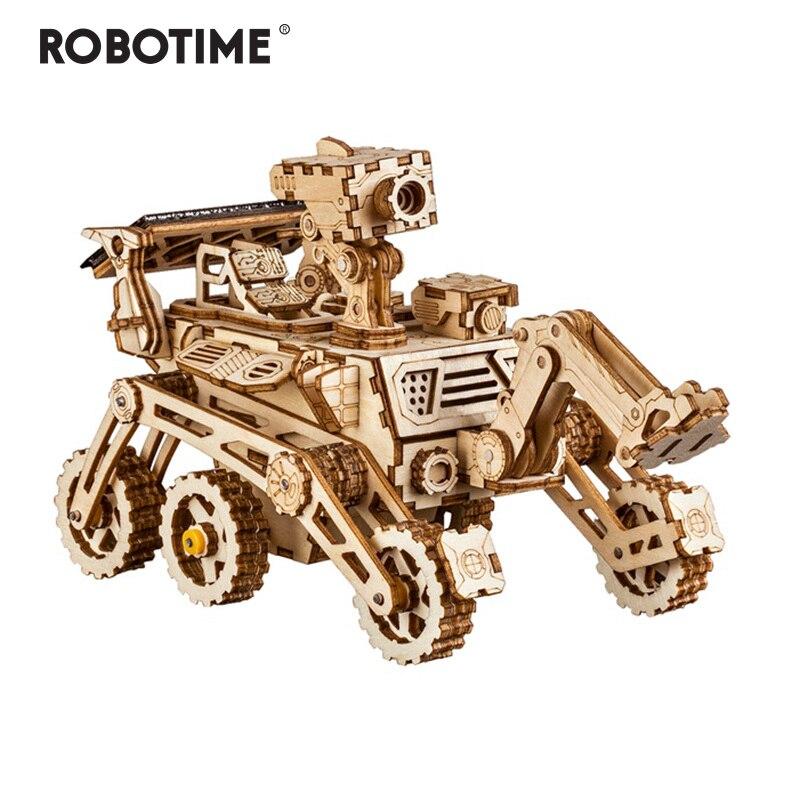 Robotime Criativo 4 Tipos DIY 3D Espaço Caça Model Building Kits Presente Brinquedo Movido A Energia Solar Móvel para Adulto Criança LS