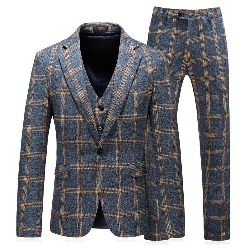 (Veste + Gilet + Pantalon) 2019 Nouveaux Hommes de Boutique De Mode Plaid Robe De Mariage Costume Trois-pièce Mâle Formelle D'affaires costumes décontractés