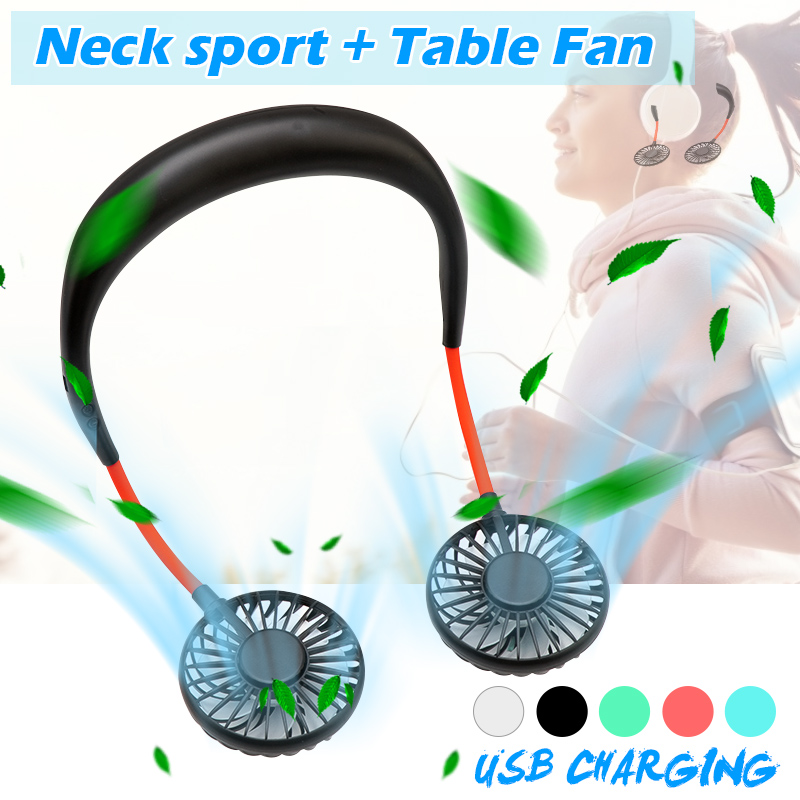 3 Speed USB Portable Fan Hands-free Neck Fan Hanging Mini Portable Sports Fans Air Conditioner With Recharge Battery  Home