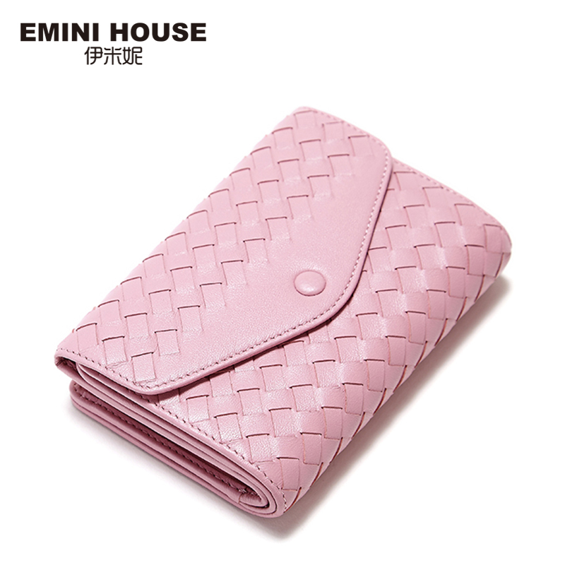 EMINI HOUSE 3 Colors Fashion Sheepskin Knitting Wallet Women Short Wallets Women Coin Purse Luxury Brand Genuine Leather Wallet