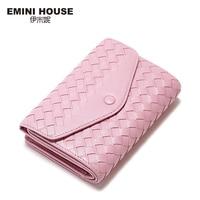 EMINI HOUSE Sheepskin Knitting Wallet Women Clutch Coin Purse Women Zipper & Buckle Short Wallets Genuine Leather Small Wallet