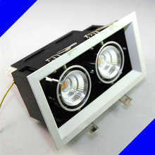 Double square Dimmable Recessed LED downlight COB 2 x10W dimming LED Spot light led ceiling lamp Free shipping