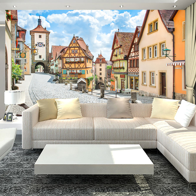 3D Country Style Wall Mural Countryside Street And Houses Photo Wallpaper Bedding Room TV Background Customized Wall Paper Mural