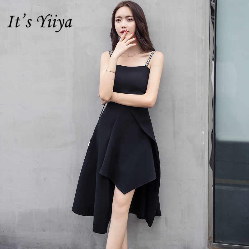 It s YiiYa Sexy Spaghetti Strap Prom Gowns Elegant Letter Little Black  Formal Dresses LX661 72df9336724e