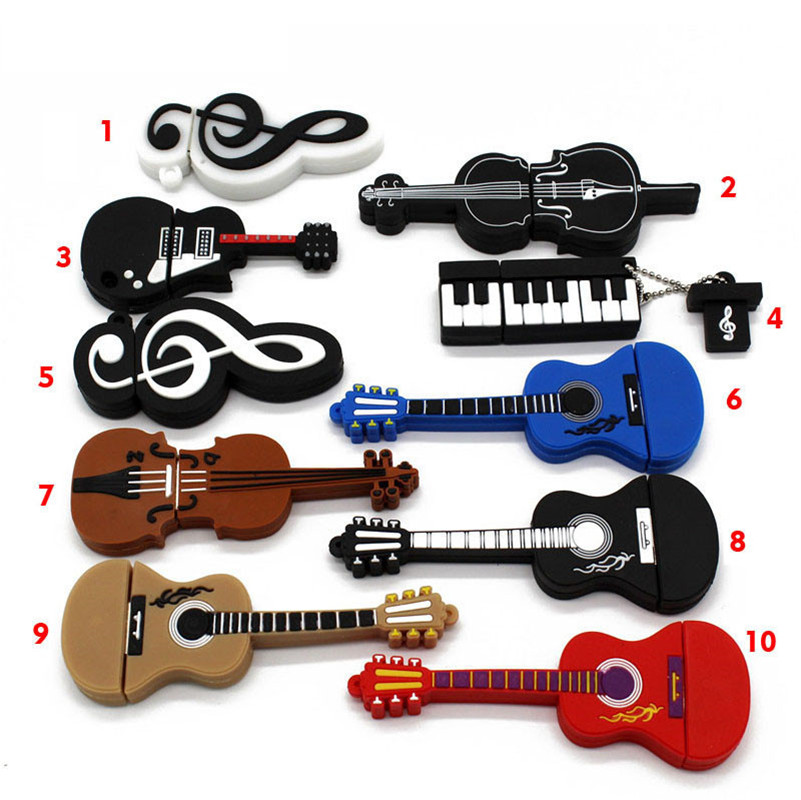 10 Styles Musical Instruments Model Pendrive 4GB 16GB 32GB 64GB USB Flash Drive Violin/piano/guitar