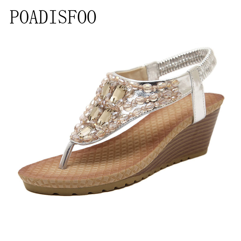 POADISFOO 2017 Bohemian slope with women's shoes Waterstone word drag sandals factory direct Zapatos Mujer  .JXF-88B1 poadisfoo 2017 new ethnic women s shoes bohemian diamond slope with a large summer sandals zapatos mujer jxf 6662b
