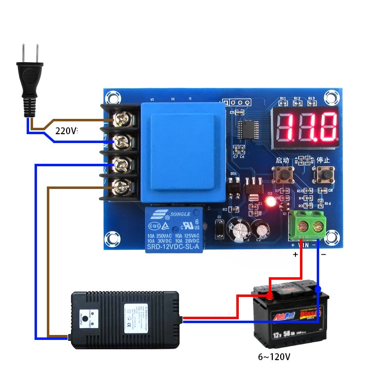 1PCS CNC Lithium Battery Charger Control Switch Charging Protection Board 3.7-120V xh m603 li ion lithium battery charging control module battery charging control protection switch automatic on off 12 24v