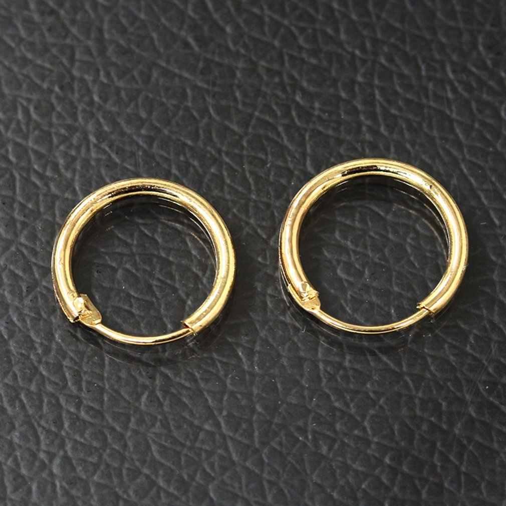 0291 Korean Type Ear Ring Earrings Earrings Couple Copper Material Men Women Earrings Gold Small 1135 Inner Diameter 10mm291
