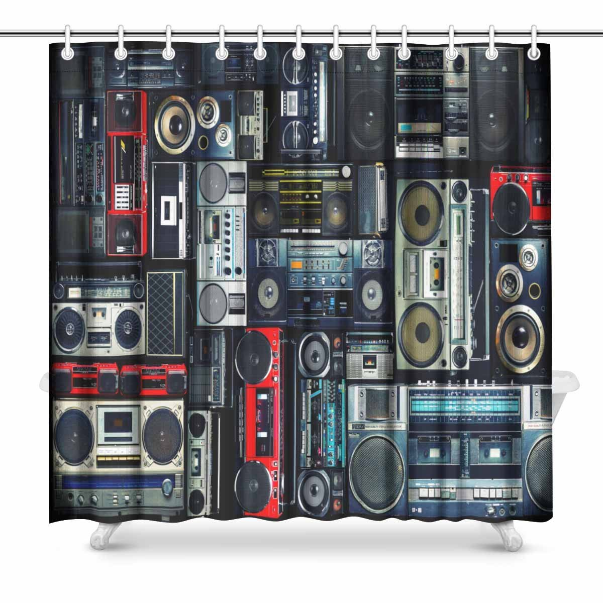 Vintage Wall Full of Radio Boombox of the 80S Fabric Shower Curtain Decor with Hooks