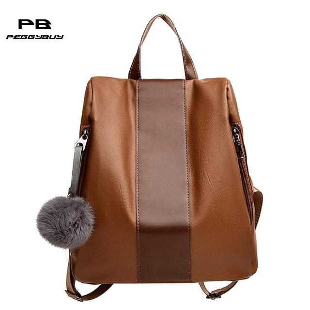 35342165e076 Retro 2018 New Trendy Women Leather Backpack College Preppy School Bag for  Student Laptop Girls Ladies Daily Back Pack Shop Trip