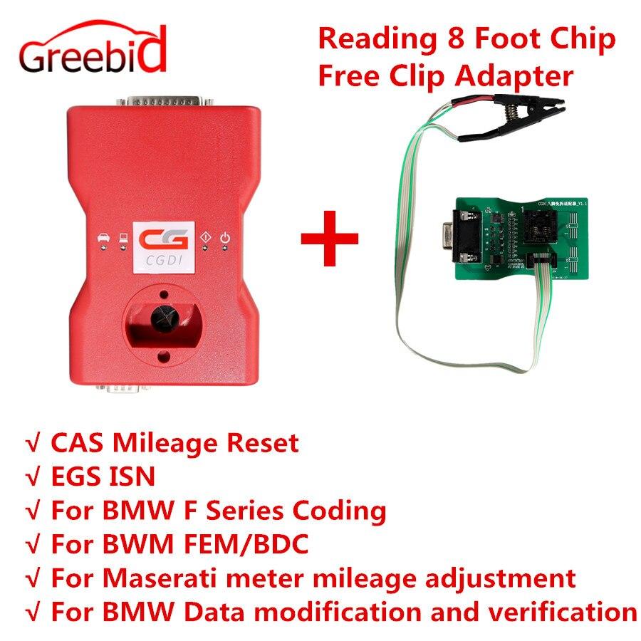 CGDI Prog per BMW MSV80 Programmatore Chiave Auto + Strumento di Diagnosi + IMMO di Sicurezza 3 in 1 Ottenere Il Trasporto di Lettura 8 Chip di piede di Trasporto Adattatore di Clip