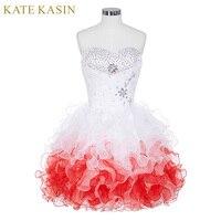 Grace Karin Cocktail Dresses 2016 Knee Length Party Dress Summer Beaded Ruffles Ball Gown Cocktailjurk Short