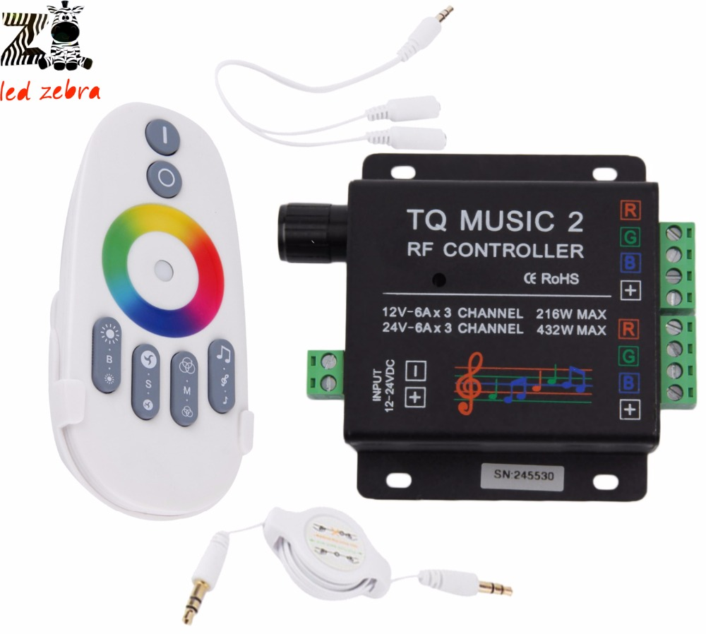 rgb led remote controller,music audio control 18A 3channel TQ Music2 rf controller for 3528 5050 5630 led strip dc12 24v