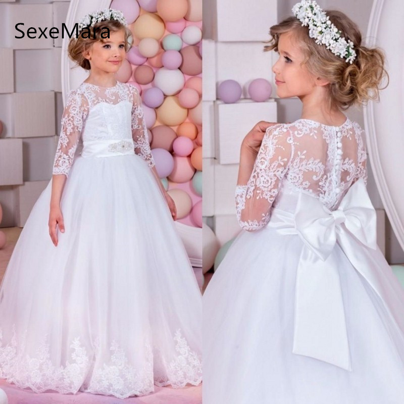 Lace Tulle White Ball Gown Flower Girl Dresses for wedding Three Quarter Long Sleeves Bow Girls First Communion Dresses vestido цены онлайн