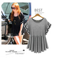 New summer lotus sleeve T-shirt was thin fat sister Large size loose casual and comfortable shirt Black Gray women tops 5xl