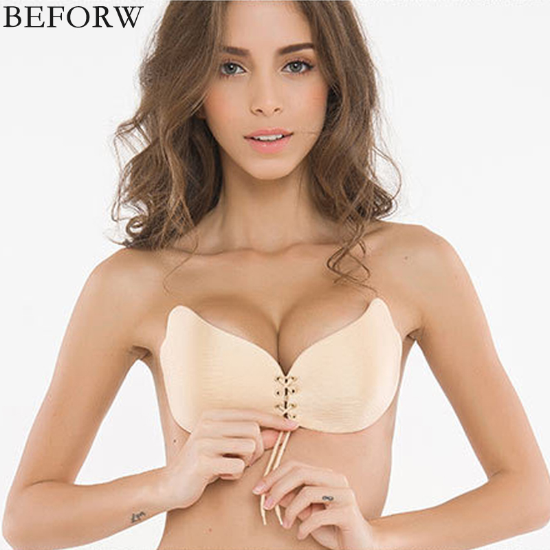 BEFORW Women Invisible Bra Super Push Up Strapless Seamless Self Adhesive Sticky Bra Front Bra Backless