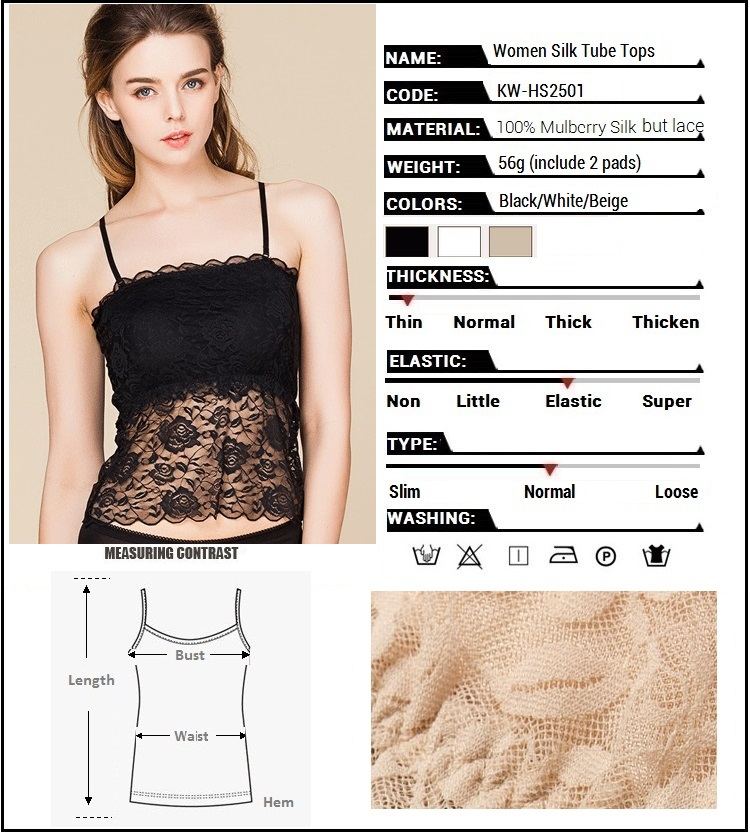 100% Real Silk Women's Tube Tops Femme Sexy Lace Wrap Chest Women Sling Inner Tops Female Wild Basic Halter Camis With 2 Pads 4