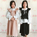3 pcs little teenage giels clothing sets girls summer sets 2017 pink black girls outfits blouse vest loose pants clothes suits