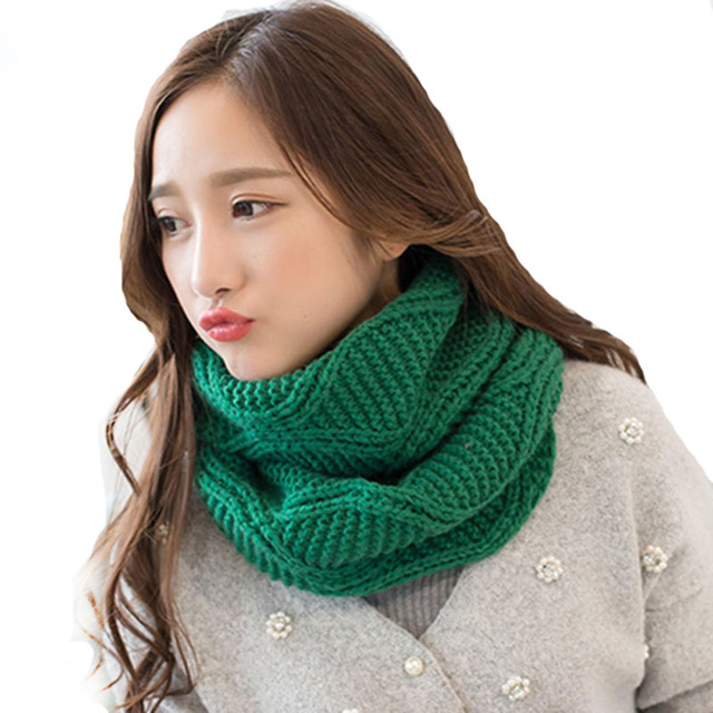 2017 Winter Cable Ring Scarf Women Knitted Infinity Scarf Lovers