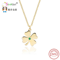 Fashion Four Leaf Clover Jewelry Accessories Necklaces For Women 925 Sterling Silver Clover Pendant Chain Friendship