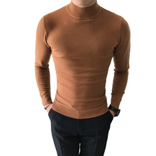 Sweater autumn and winter mens collar pullover large size S-XXXL solid color slim half-high high quality brand sweater