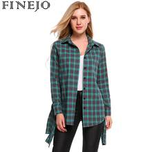 FINEJO 2018 New Brand Women Blouses Long Sleeve Shirts Cotton Red Flannel Plaid Shirt Casual Female Plus Size Blouse Tops(China)