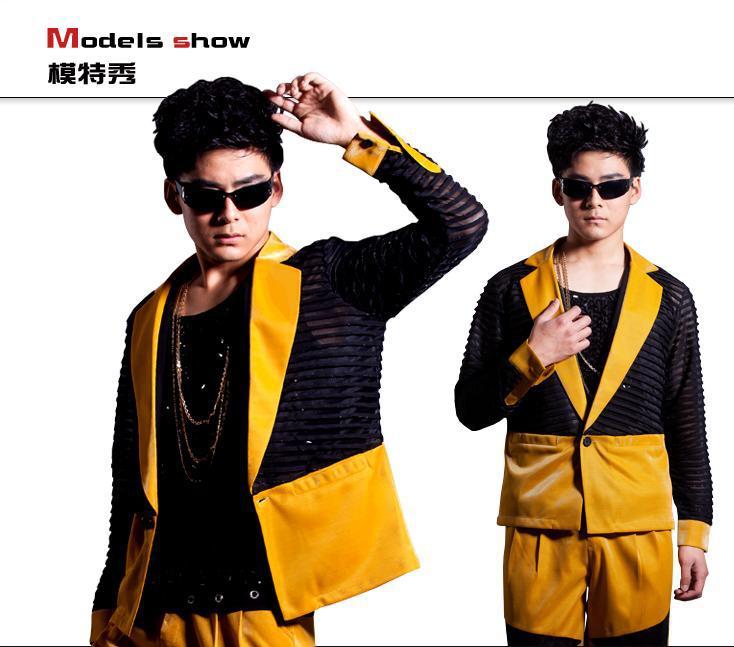 Geel Zwart Golf Punt Pak Koreaanse Custom Made Mannen 2 STUKS Suits Set (jas + broek) mannelijke Straat Mode Pak Blazer Jasje DJ Stage - 3