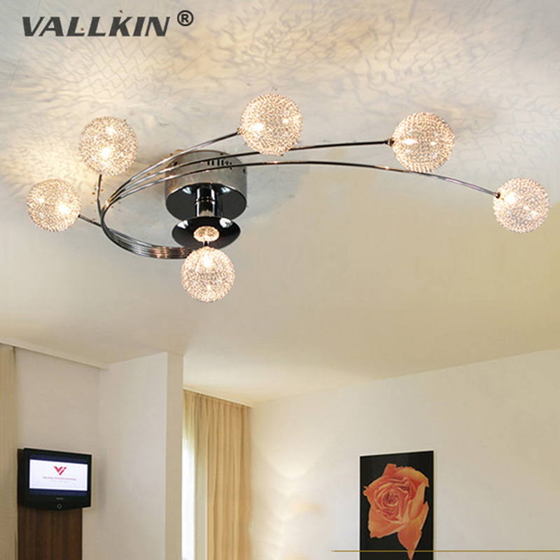 VALLKIN Modern LED Ceiling Lights For Living Room Bedroom Indoor Ceiling Lamp Lighting Fixtures with 6 Lights Aluminum Lampshape vallkin modern chandelier new hot sale luxury clear crystal lighting ceiling lamp fixtures for indoor dining room stairs hallway