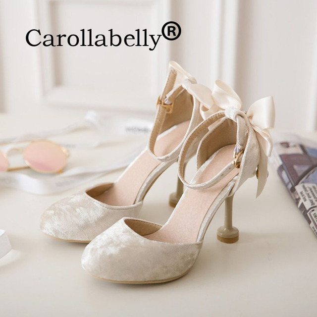 Carollabelly Women Pumps Flock Bride Shoes Sweet Bow Tie Heels Round Toe Wedding Large