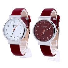 Simple Style Women's Watch Roman Number Red White Quartz Leather Wrist Watch Bracelet Relogio Feminino Montre wholesale