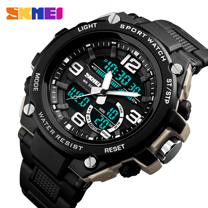 Mens Sports Watches Dive 50M Digital LED Military Casual Electronics Wristwatches Relojes 2018