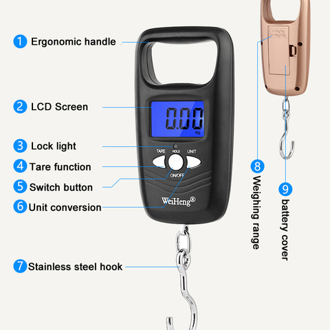Portable 50kg x 10g Traveling Luggage scale Electronic Weight Scales for fishing suitcase digital Steelyard weight Balance Lahore