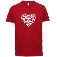 Love Heart Bats - Mens T-Shirt Shape / Bat Silhouette Gift -13 ColoursMenS T-Shirts Summer Style Fashion Swag Men