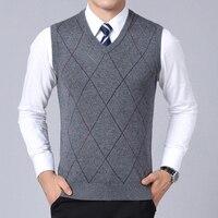2019 новый модный бренд свитер для Для мужчин s пуловер приталенная жилетка вязаные Джемперы плед Осень корейский стиль Повседневное Для мужч...