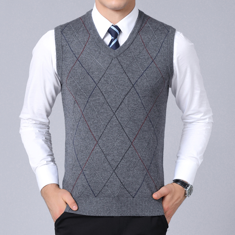 2019 New Fashion Brand Sweater For Mens Pullover Vest Slim Fit Jumpers Knitwear Plaid Autumn Korean Style Casual Men Clothes