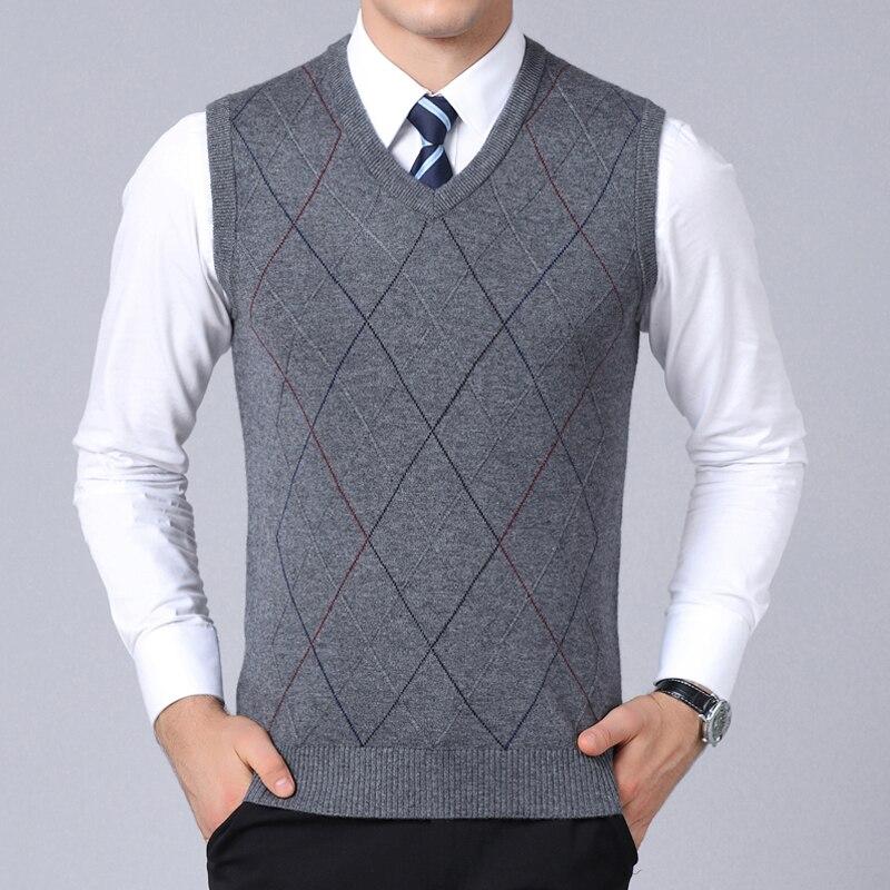 Новинка 2021, модный брендовый свитер для мужчин, пуловер, жилет, приталенные вязаные Джемперы, клетчатая Осенняя повседневная мужская одежда...