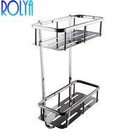ROLYA Ванная комната углу 2 уровня прямоугольные ванны и душа Caddy корзина, полированная Нержавеющаясталь