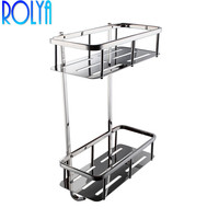 ROLYA Bathroom Corner 2 Tier Rectangular Tub and Shower Caddy Basket, Polished Stainless Steel