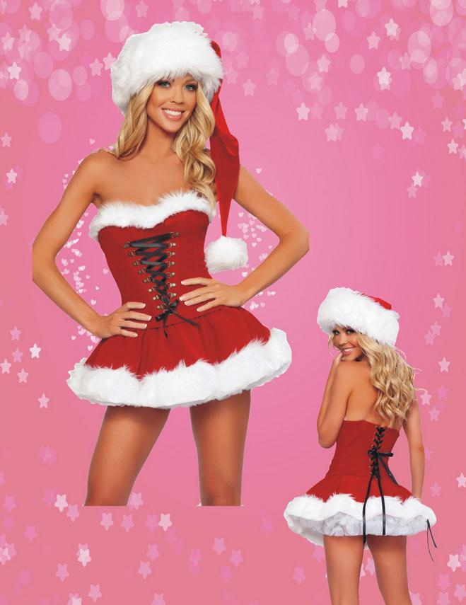 Sexy Christmas Adult Costume Strapless Red Santa Dress Woman Cosplay Sexy Princess Costumes White Hairy Ball Gowns New 2016 WL56