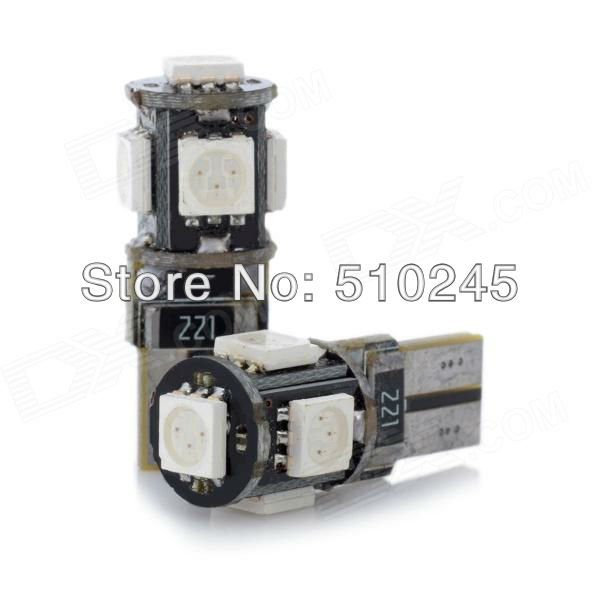 100x Free shipping T10 194 W5W 5 led smd 5050 canbus obc error free no error LED Light Bulb Lamp 5SMD White
