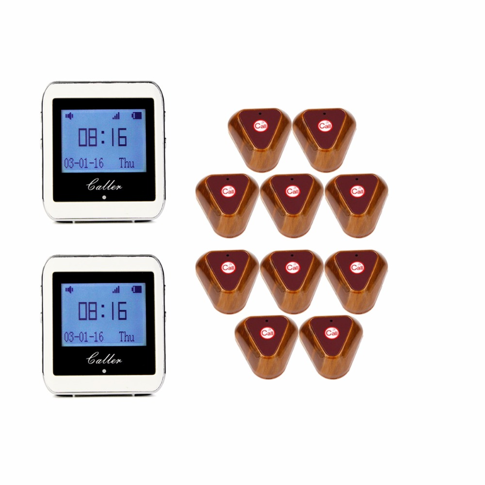 Wireless Restaurant Coaster Pager 2 Watch Calling +10 pcs Button Receiver Pager System for Hospital Waiter 433MHz F3288B wireless pager system 433 92mhz wireless restaurant table buzzer with monitor and watch receiver 3 display 42 call button